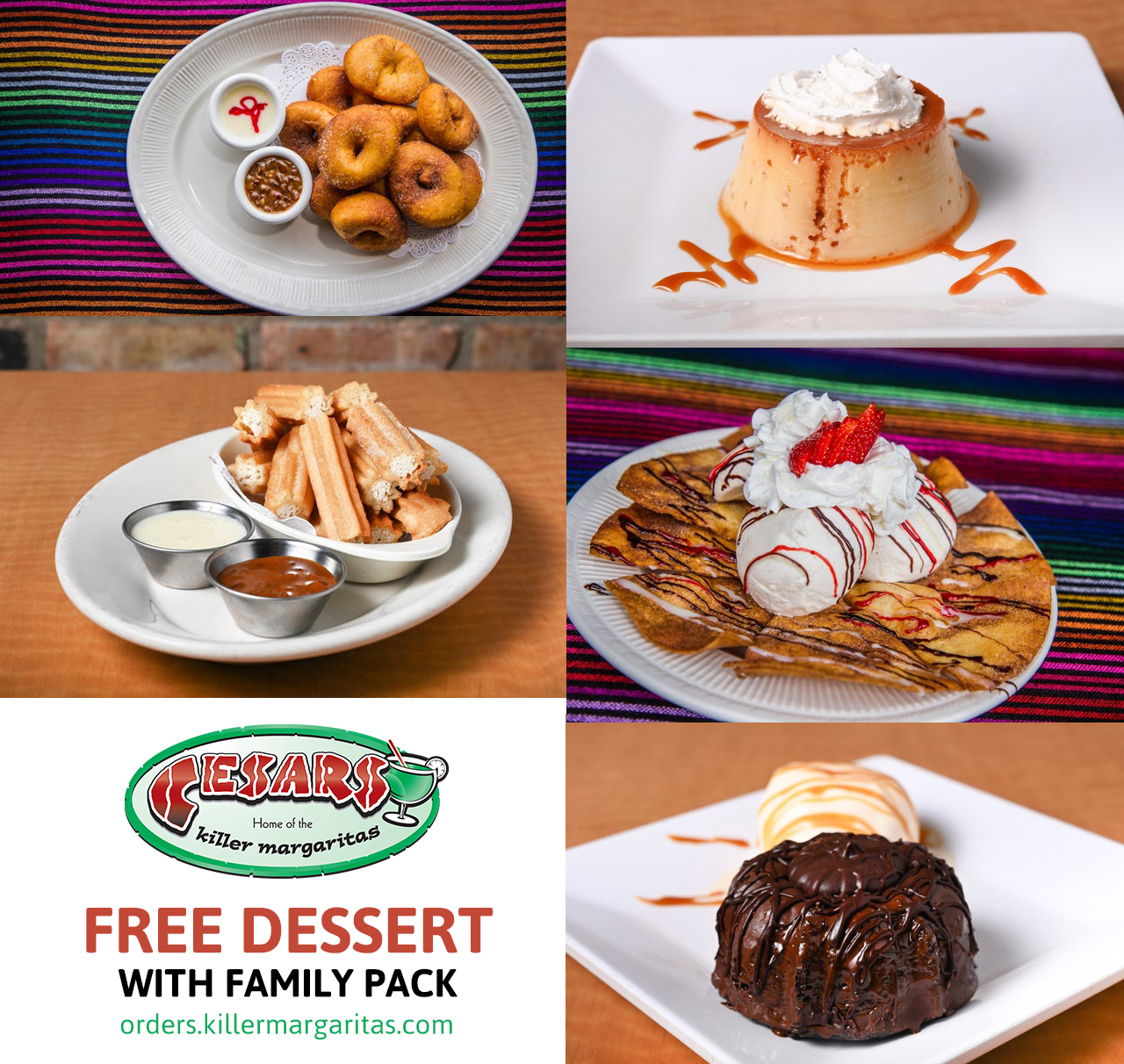 Get a free dessert with purchase of family pack when you order in our system